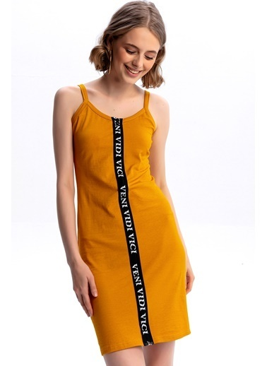 Emjey Boydan Baskılı Fermuarlı Elbise Hardal